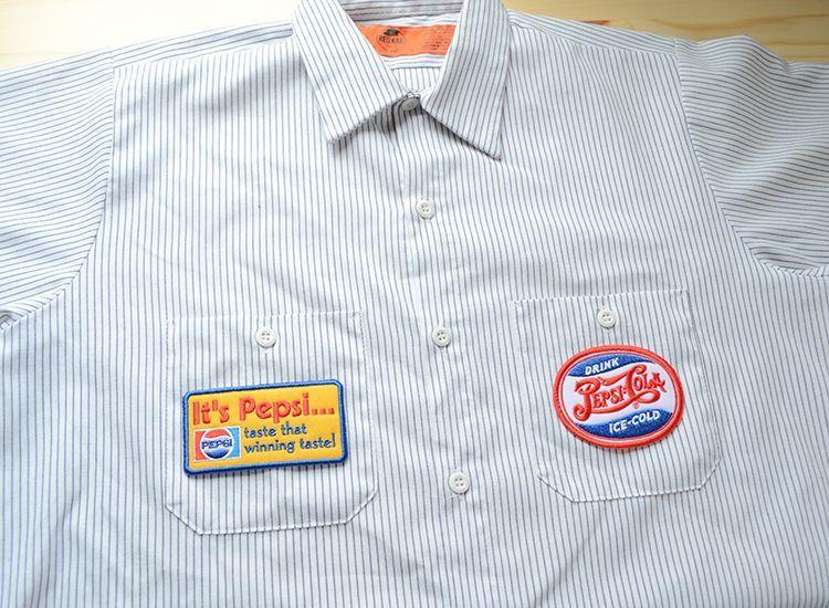 PEPSI-COLA(ペプシコーラ)のオフィシャルライセンス・ロゴワッペン ワークシャツ貼り付けイメージ