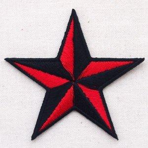 画像1: ワッペン 星/スター Star(レッド&ブラック)