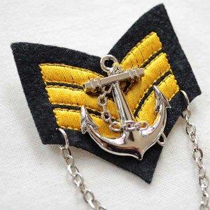 画像2: エンブレムブローチ Sailor セーラーライン(アンカー/チェーン付き)