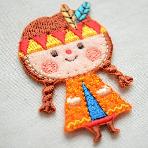 画像2: ワッペン リンリンエミリー インディアン女の子(オレンジ)