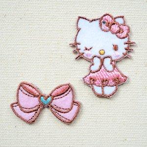 画像1: ワッペン キティ/リボン(2枚組)