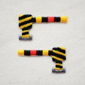 画像1: 鉄道/電車 トレインミニワッペン 遮断機