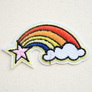 画像1: ワッペン レインボー&ピンクスター(虹の流れ星)