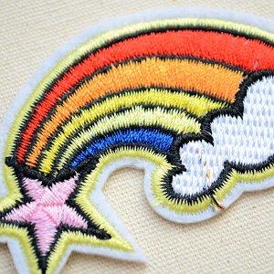 画像2: ワッペン レインボー&ピンクスター(虹の流れ星)