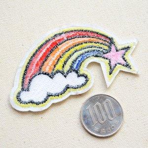画像3: ワッペン レインボー&ピンクスター(虹の流れ星)