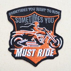 画像1: ワッペン バイク MUST RIDE