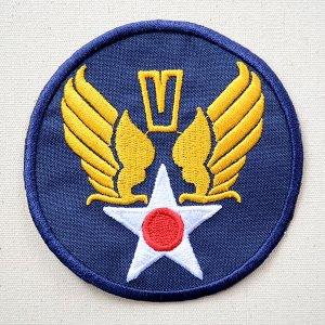 画像1: ミリタリーワッペン U.S.Air Force エアフォース V (ブルー/ラウンド)