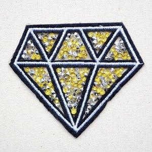 画像1: スパンコールワッペン ダイヤモンド(イエロー)
