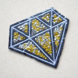 画像3: スパンコールワッペン ダイヤモンド(イエロー)