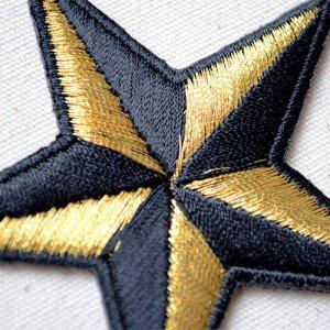 画像2: ワッペン 星/スター Star(ゴールド&ブラック)