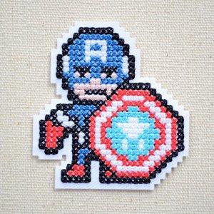 画像1: ワッペン マーベル ピクセル キャプテン アメリカ