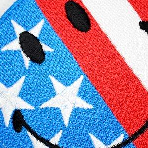 画像2: ワッペン スマイルマーク/スマイリーフェイス(アメリカ国旗)
