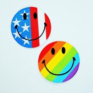 画像4: ワッペン スマイルマーク/スマイリーフェイス(アメリカ国旗)