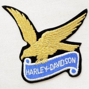 画像1: ロゴワッペン ハーレーダビッドソン(ゴールド/糊なし)