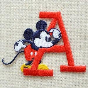 画像1: ワッペン ディズニー ミッキーマウス アルファベット(A/レッド)