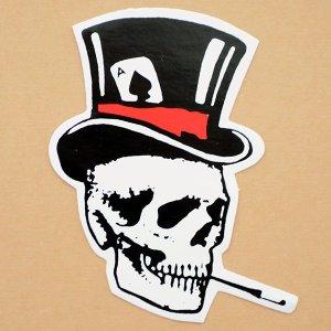 画像1: ステッカー/シール スモーキングスカル Smoking Skull(右向き)