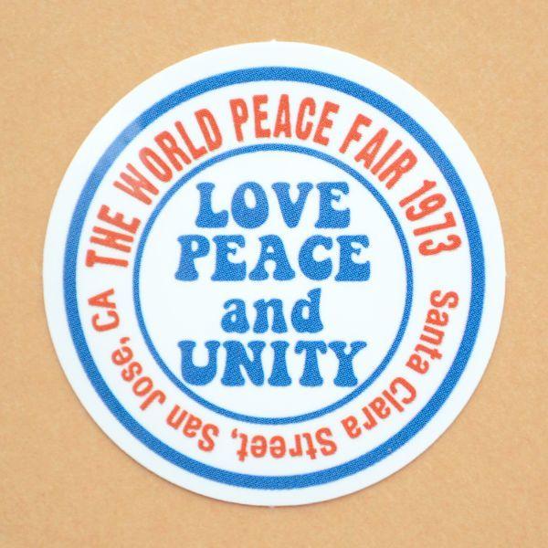 アドバタイジングステッカー s love peace and unity ホワイト シール