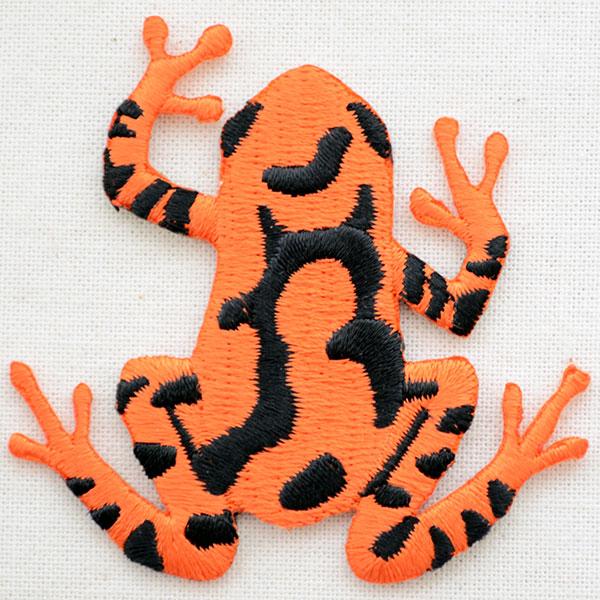 動物ワッペン カエルオレンジブラック